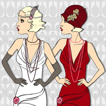 Vintage Beautiful Fashionable Girls  Vector