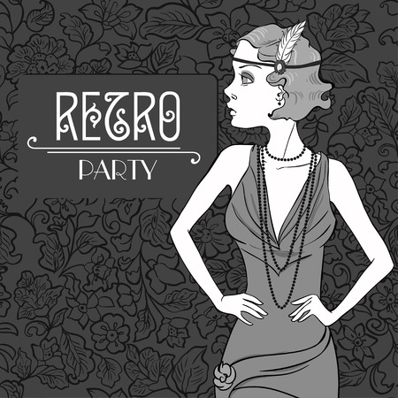 Fashionable woman in Retro Party   Vector