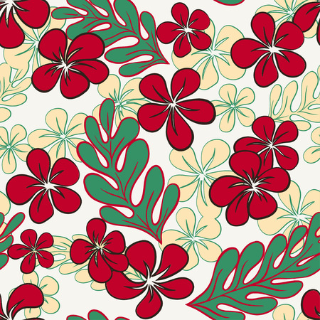 Vector Blue Tropical Flowers Seamless PatternΠVector