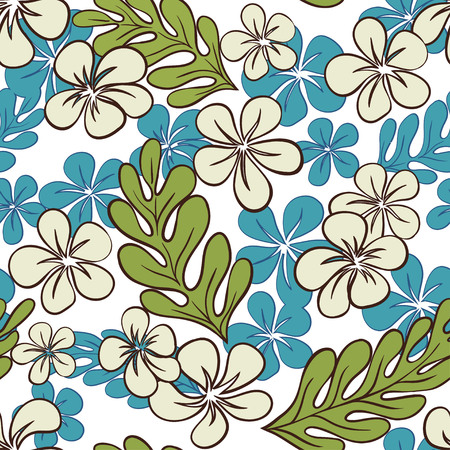 Vector Blue Tropical Flowers Seamless Pattern Vector