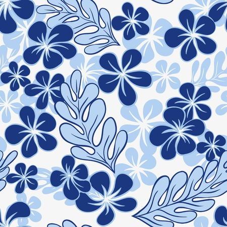 luau party: Flores tropicales azules Vector Seamless Pattern? Vectores