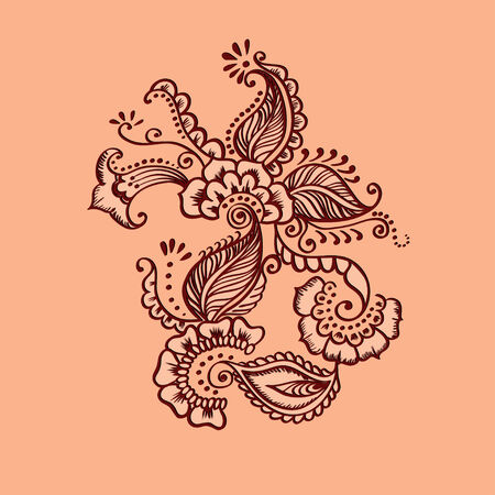 indian fabric: Vector Indian Fabric. Seamless Pattern ornate with flowers