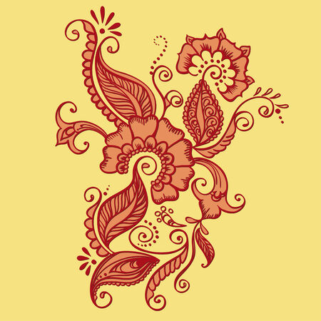 Vector Indian Fabric. Pattern ornate  with flowers Vector