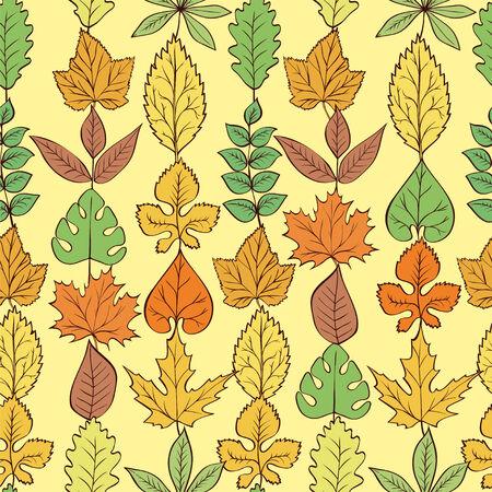 vecotr: Seamless Pattern Leaves diferent shape. Vecotr Background Illustration