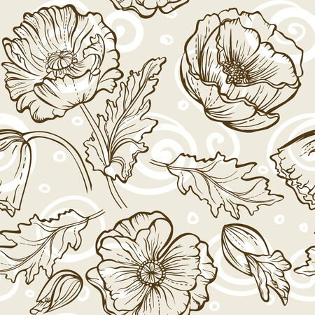 Vintage. Seamless brown floral pattern wiht poppies bouquet Vector