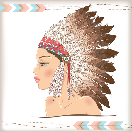 indian chief headdress: Vector american indian bella ragazza