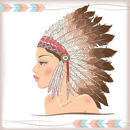 head-dress: Wektor American Indian piękna dziewczyna