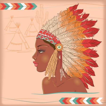 ceremonial clothing: Vector American Indian beautiful girl. Illustration