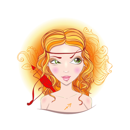 Illustration of astrological sign of Sagittarius. Beautiful fantasy girl. Stock Vector - 28069473