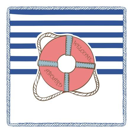 Vintage Vector Marine invitation Card with Lifebuoy Vector
