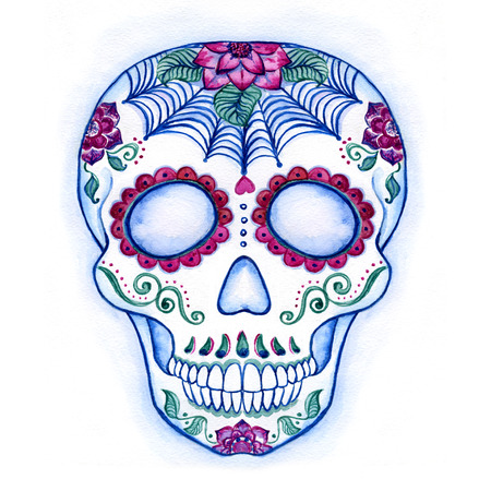 Day of The Dead colorful Skull with floral ornament. Sugar Skull drawn or watercolor