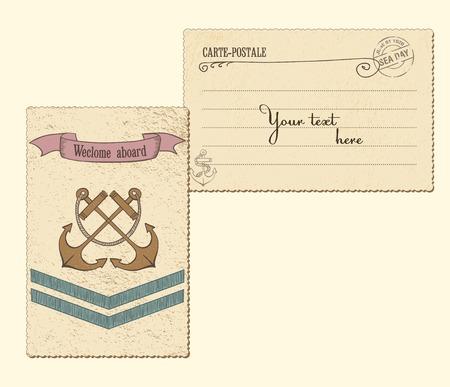 Vintage Vector Marine Postcard Vector