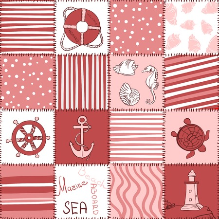 Vector Sea Seamless Pattern Patchwork Illustration