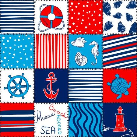 blanket fish: Vector Sea Seamless Pattern Patchwork Illustration