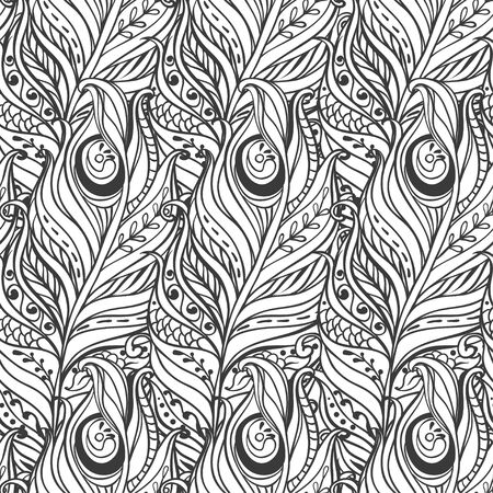 Vector Seamless pattern with decorative feather Vector