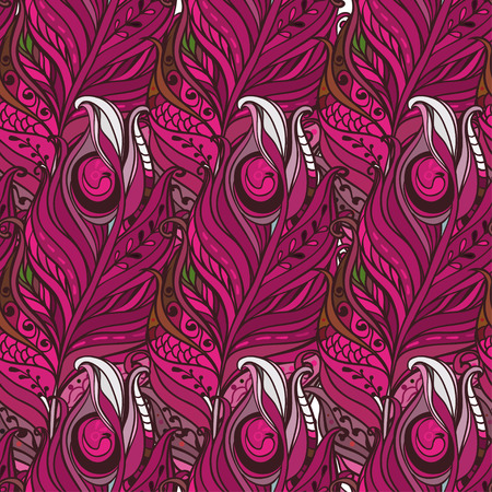 lightweight ornaments: Vector Seamless pattern with decorative feather Illustration