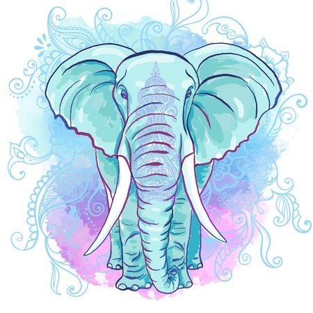 flower art: Vector Elefante indiano sul Acquerello Blot Vettoriali