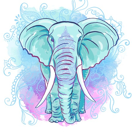 africans: Vector Indian Elephant on the Watercolor Blot Illustration