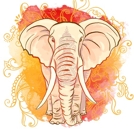 水彩のしみにベクトル インド象