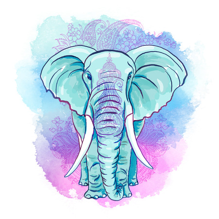 Indian Elephant on the Watercolor Blot Фото со стока