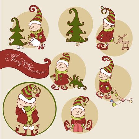 Set of Christmas Gnome Vector