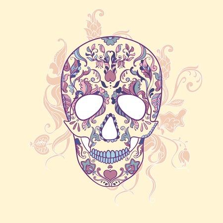 Cráneo del azúcar con adornos Foto de archivo - 32407207