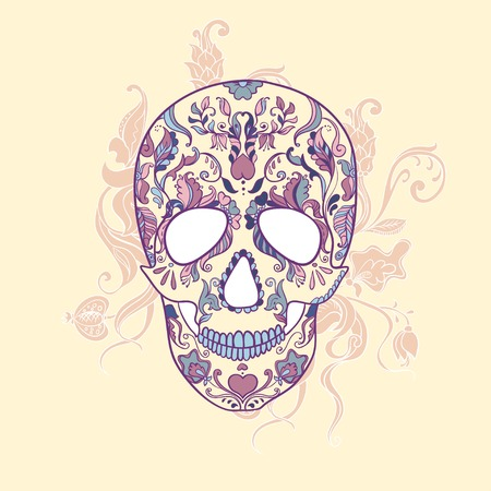 Sugar Skull with ornament Vector