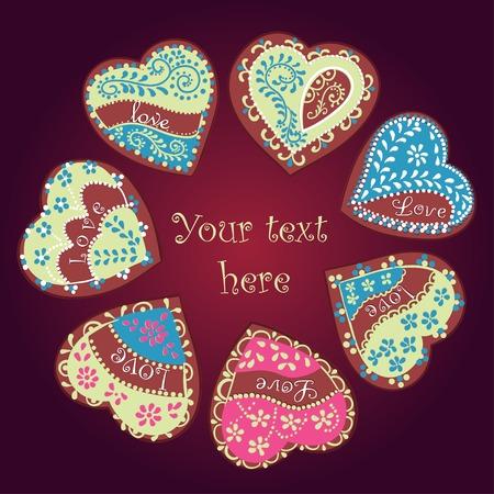 застекленный: heart illustration for Valentine Day design. The glazed Cookies Heart Иллюстрация