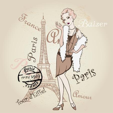 Retro Paris. Fashionable Girl Vector