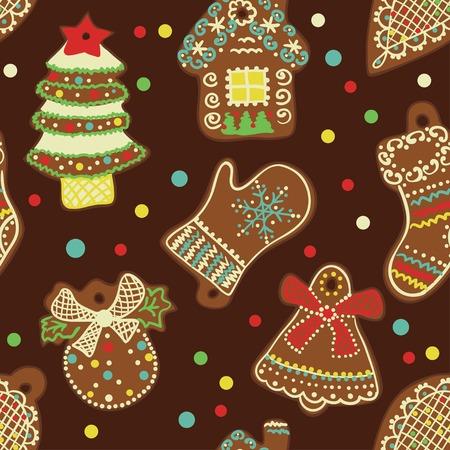 weihnachtskuchen: Seamless Pattern Lebkuchen