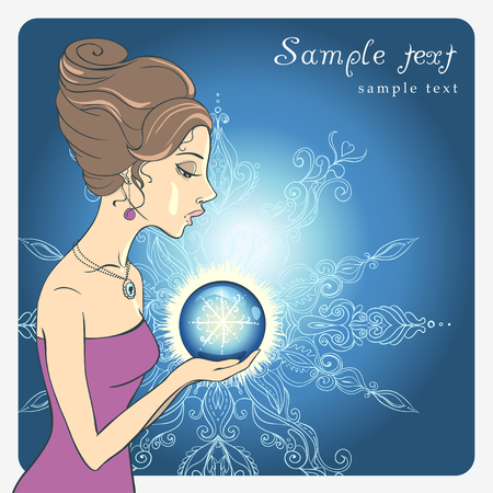 Vector Beautiful young girl with Snow globe. Illustration