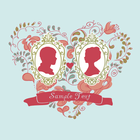 consist: Vector Wedding Card. Ornamental heart consist of Flowers