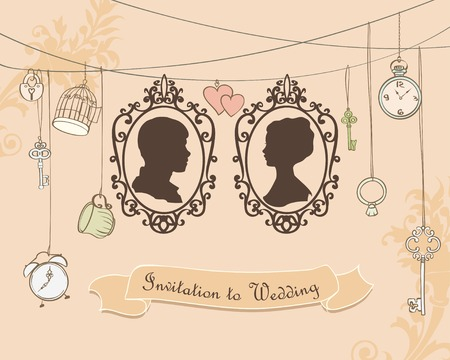 key ring: Vector Wedding Invitation Card. Vintage card with silhouette married Illustration