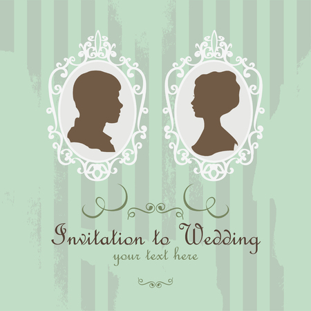 Vector Wedding Invitation Card. Vintage card with silhouette married Vector