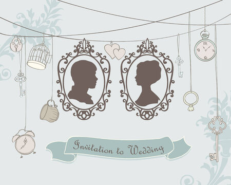 spouses: Vector Wedding Invitation Card. Vintage card with silhouette married Illustration