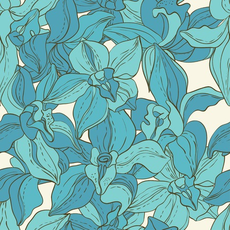 Vector Pattern consist of Orchids. Vintage Paper Vector