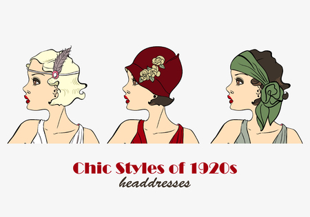 Chic Styles of Headdresses of 1920s. Retro Woman Vector