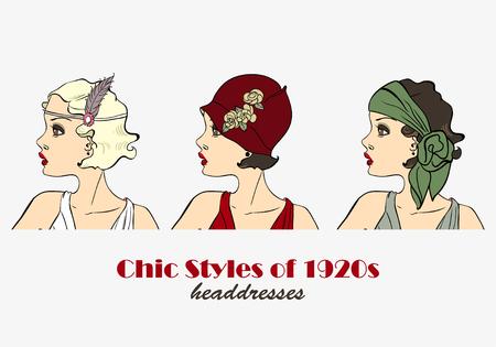 Chic Styles of Headdresses of 1920s. Retro Woman