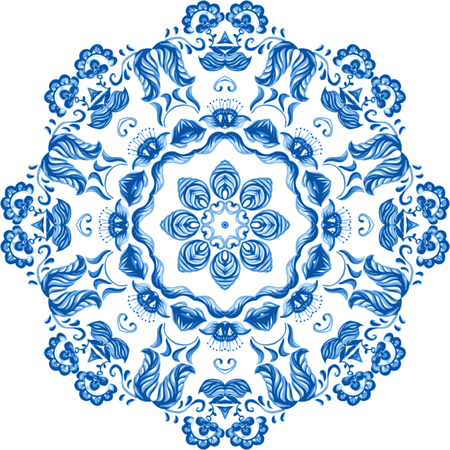 Vector Sample Lace Asian Tile. Circle Background