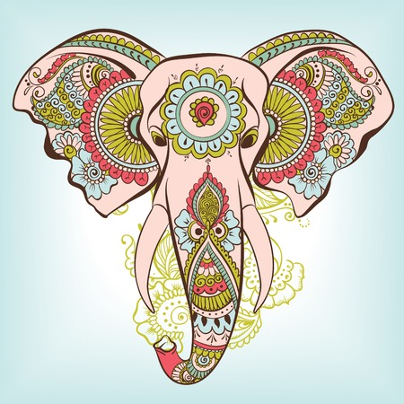 ornament paper: Vector Elephant on the Henna Indian Ornament