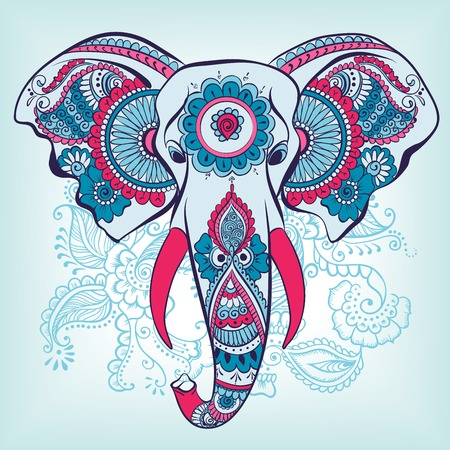 Vector Elephant on the Henna Indian Ornament Vector