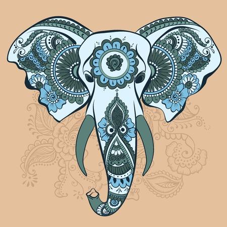 Vector Elefante en el ornamento del indio de la alheña Foto de archivo - 33098843