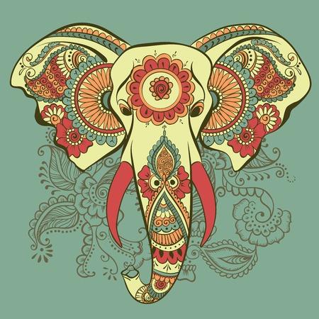 elephant: Vector Elephant trên Henna Ấn Độ Ornament Hình minh hoạ