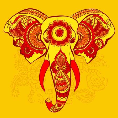 ganesha: Vector Elephant on the Henna Indian Ornament
