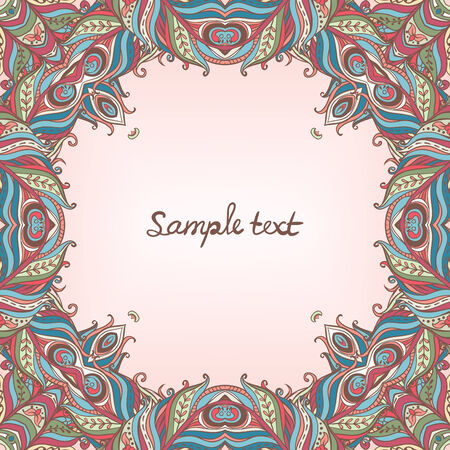 psychoanalysis: Vector floral ornate frame with many details