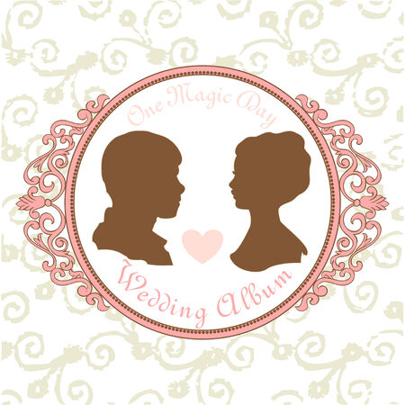 recien casados: Vector Silueta Sólo se casó en marco del vintage Vectores