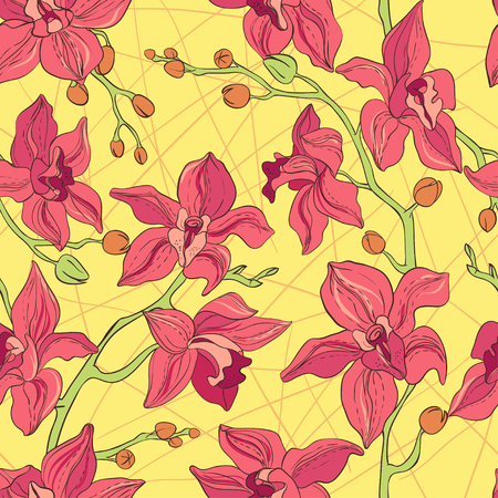 consist: Vector Seamless Pattern consist of Orchids