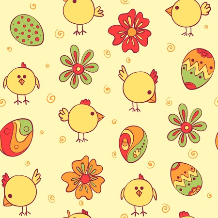 Vector Seamless Pattern with doodle chicken Vector