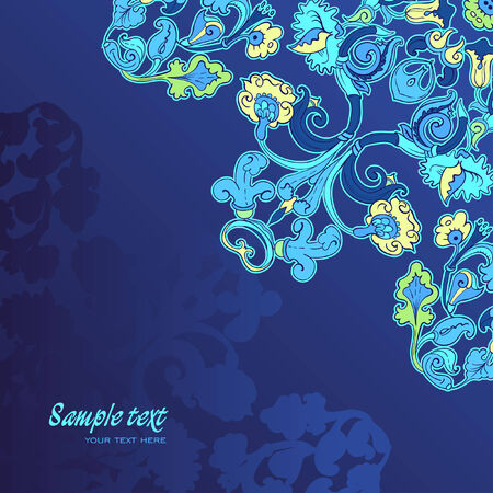 Blue amazing card with Flowers Vector
