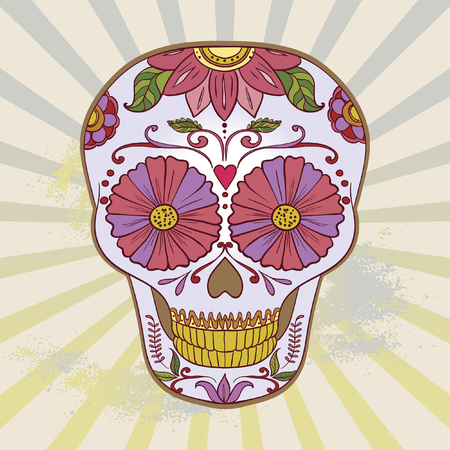 Sugar Skull can be used for T-short, bag Çizim